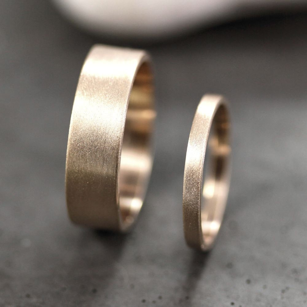 Gold Wedding Band Set, His & Hers 6mm 2mm Brushed Flat 10K Recycled Yellow Ring Set Rings - Made in Your Sizes