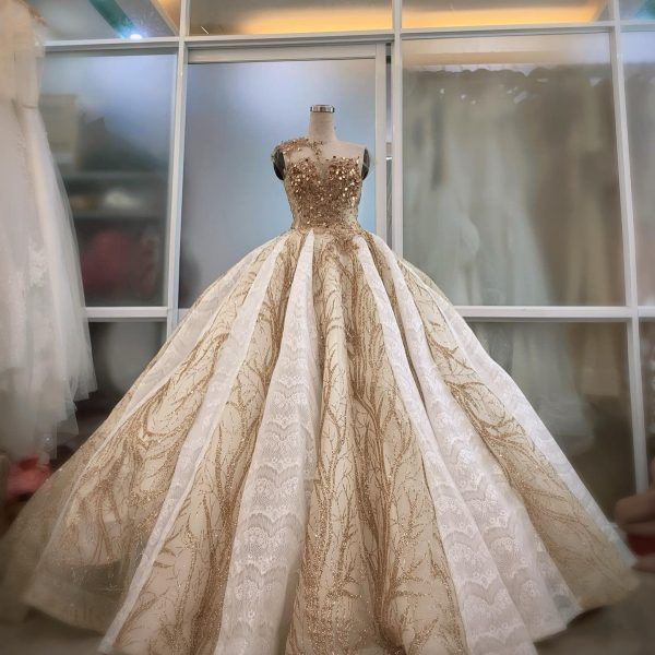 Golden Lace Wedding Dress Made To Order, Beautiful Princess Bridal Gown For A Fairy Tail Wedding, Unique & Affordable