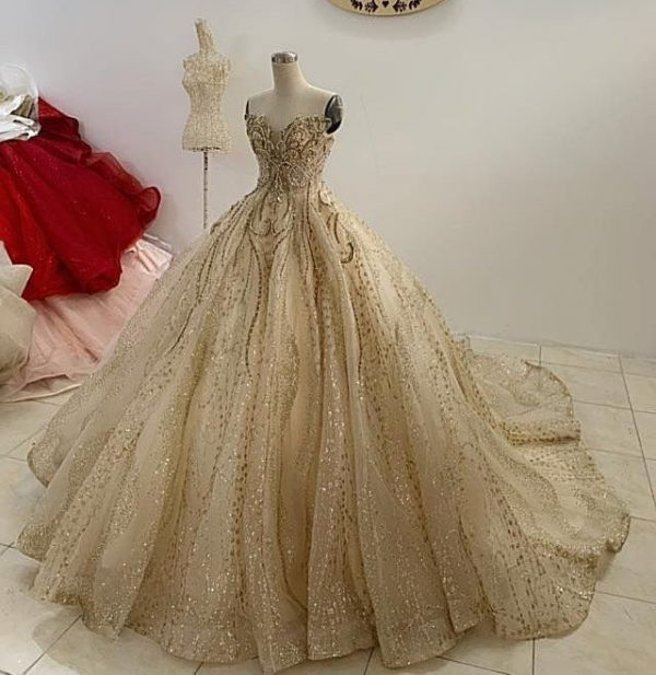 Golden Princess Fairy Tail Wedding Dress Made To Order, Luxury Strapless Gold Gown With Sparkling Pearls