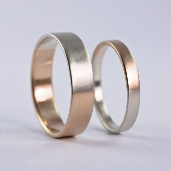 Golden Ratio Wedding Bands Set - 9K White Gold & Yellow Gold, Unique His Hers Rings