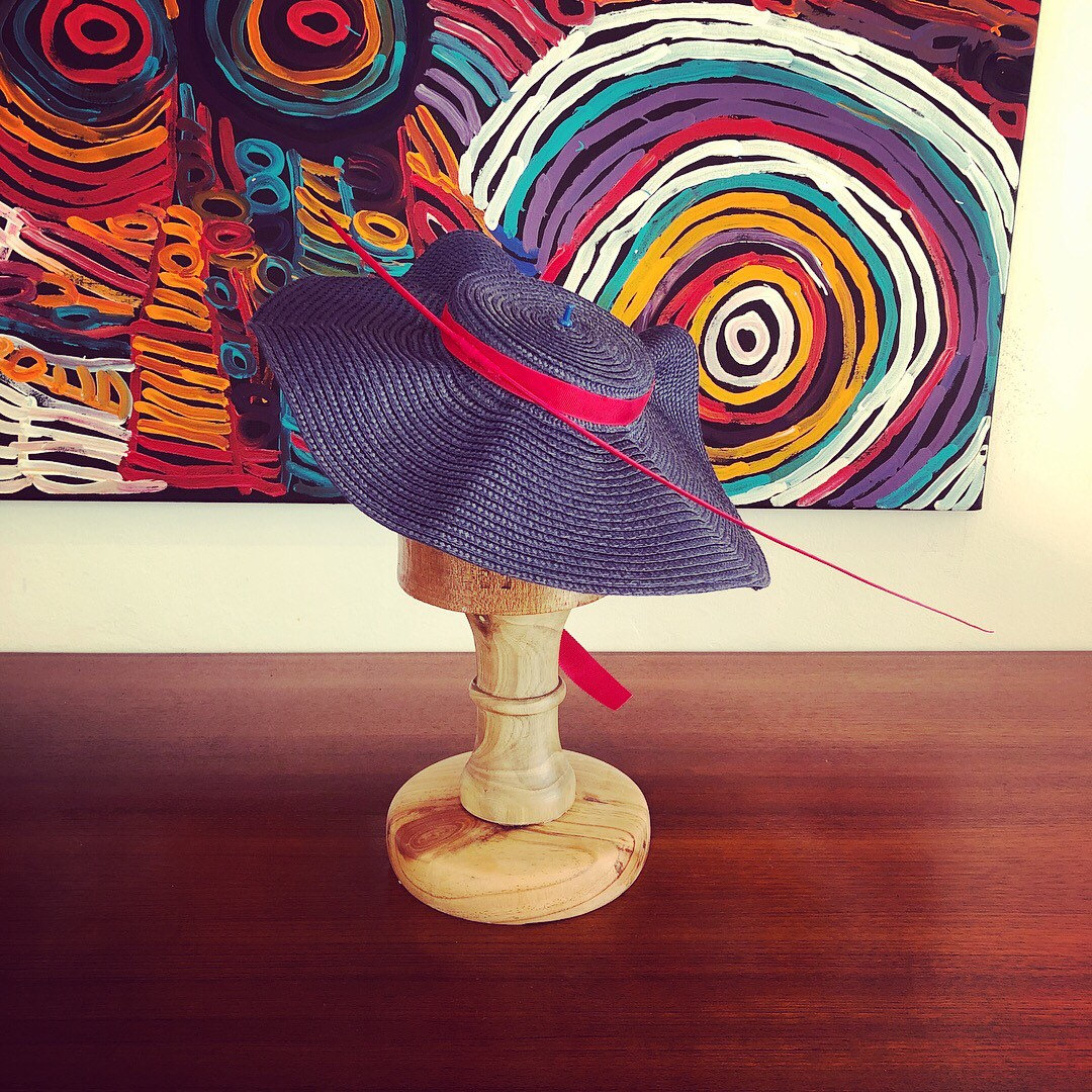 Gorgeous Blue & Red Hat. Perfect For The Races, A Wedding Or Special Occasion