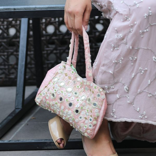 Gorgeous Pink Silk Bag, Bridesmaid Clutch, Mirror Wedding Gift For Her, High Quality Mother Of Pearl Embroidery Handbag