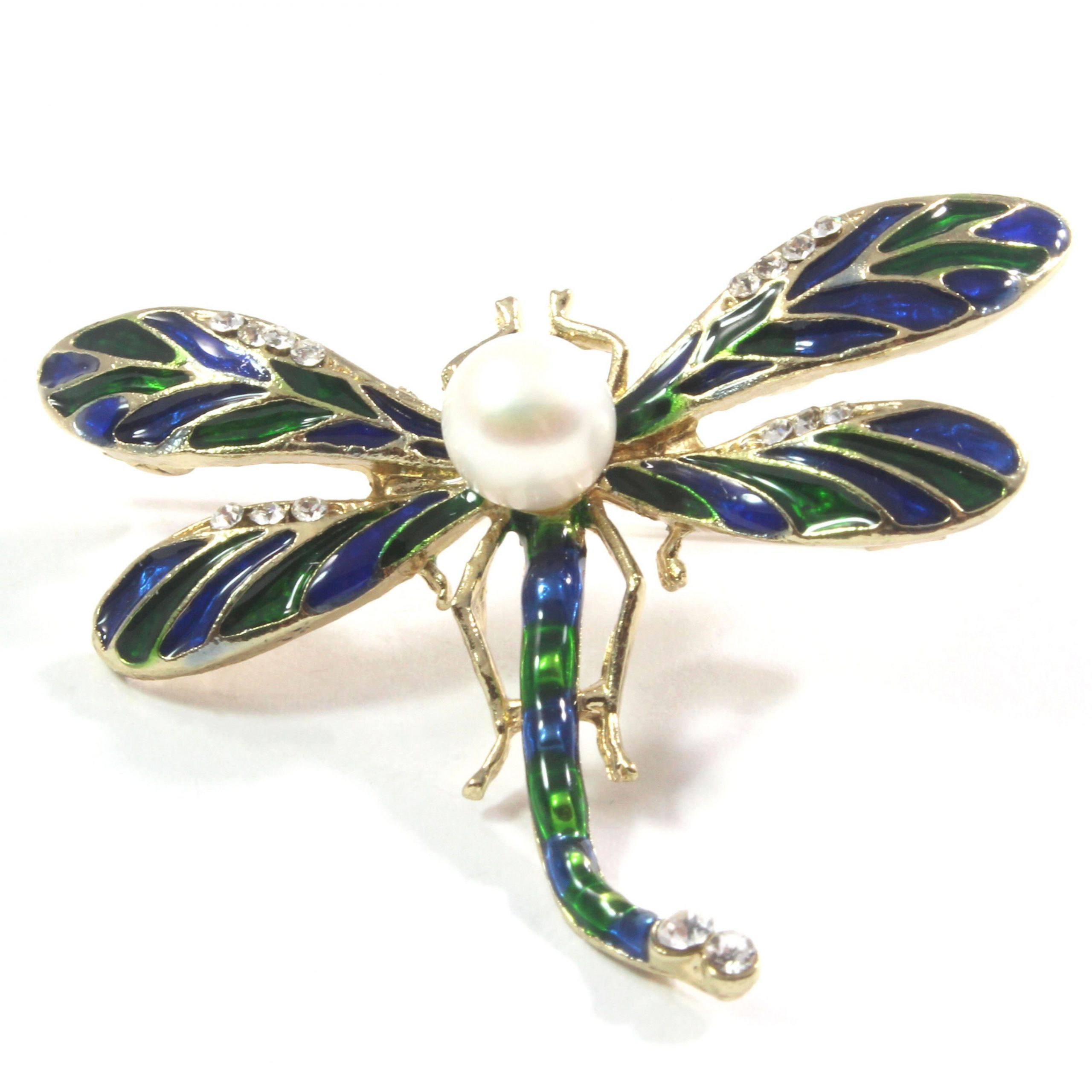 Green Dragonfly White Freshwater Cultured Pearl Brooch 7.5-8.0mm