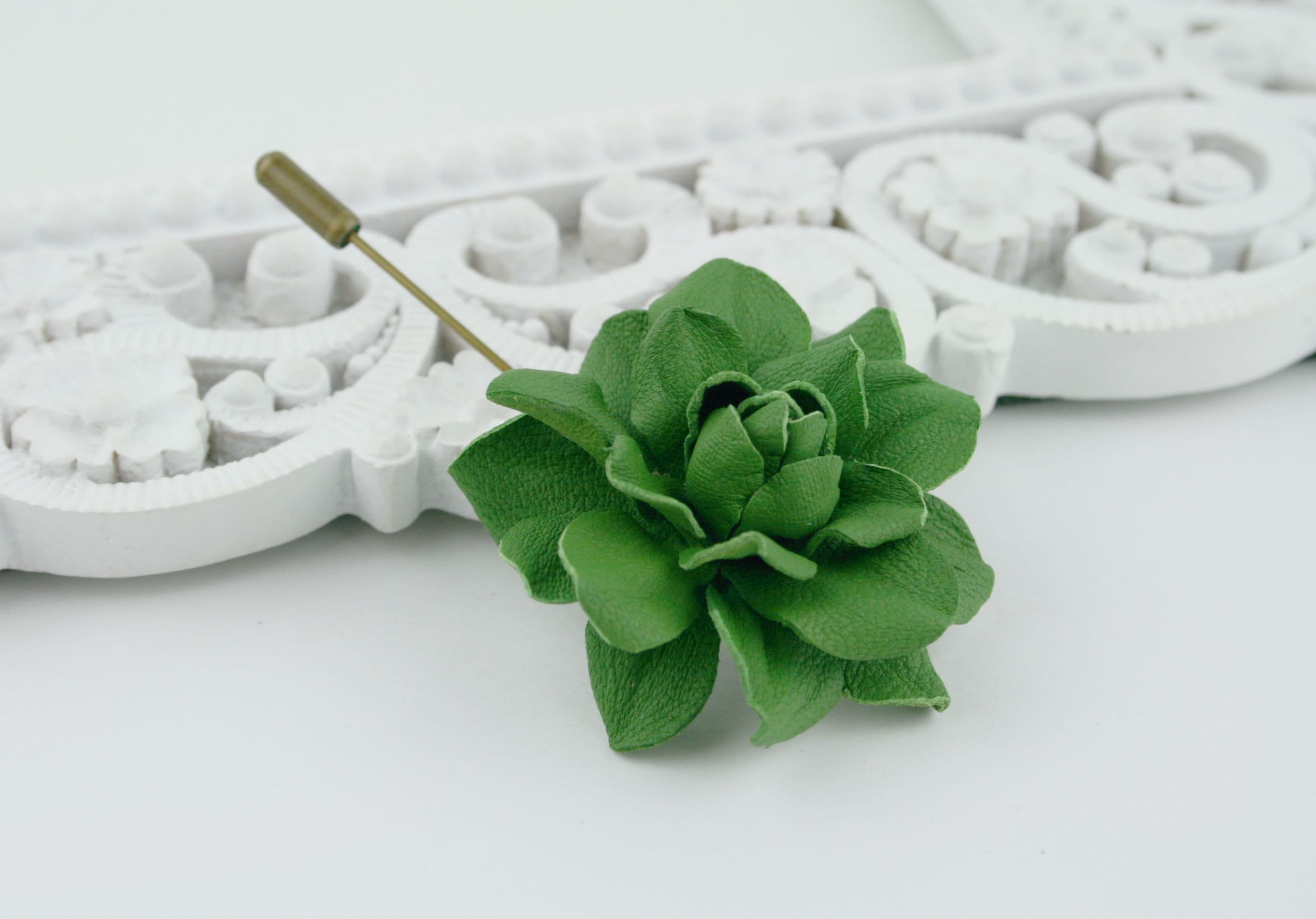 Green Leather Rose Flower Men's Lapel Pin. Brooch. Boutonniere Wedding Boutonniere