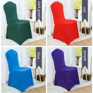 Green Red Blue Purple Lycra Chair Covers Spandex Cloth Wedding Banquet Ceremony Feast Birthday Anniversary Engagement Party Decoration