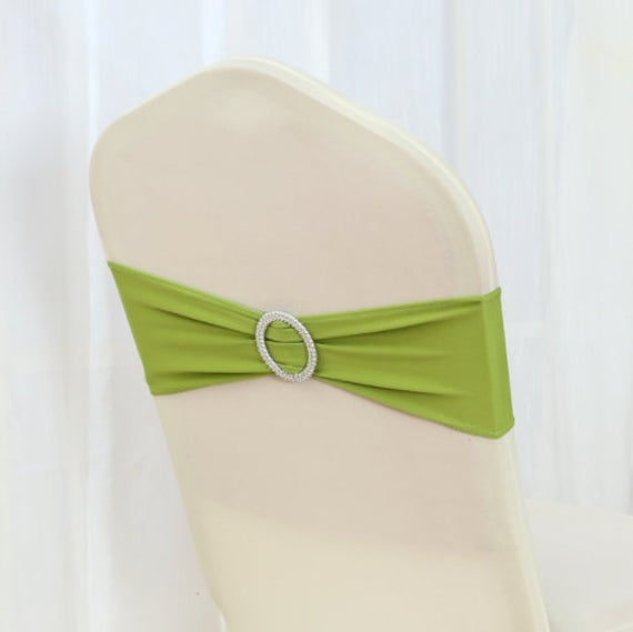 Green Spandex Chair Bands Sashes Bow Tie Ribbon Wedding Engagement Birthday Anniversary Party Reception Bouquet Decoration
