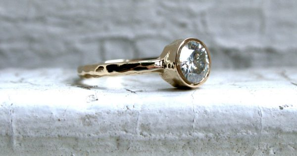 Hammered 14K Yellow Gold Moissanite Solitaire Engagement Ring Wedding Ring