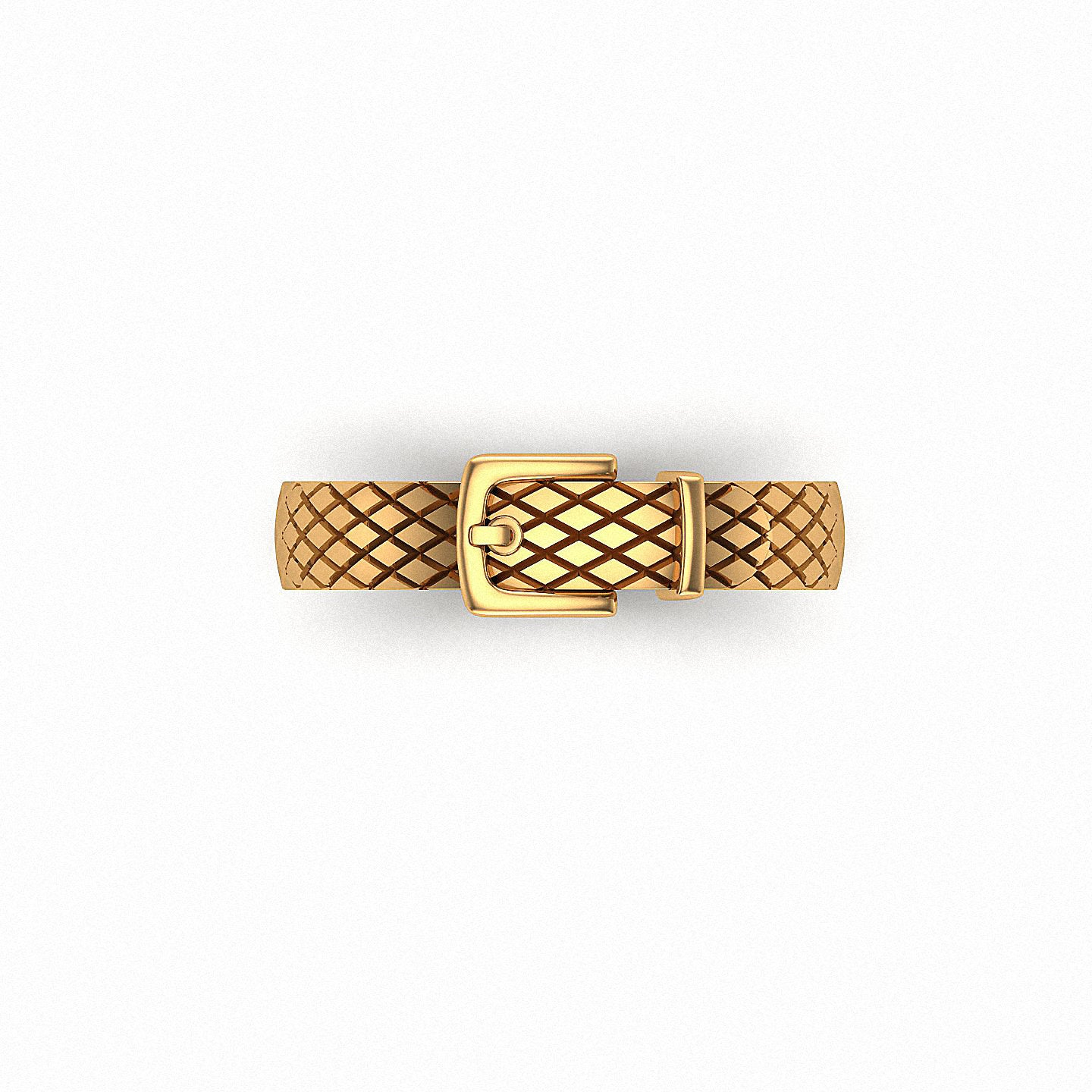 Handmade Jewelry, 14K Solid Gold Ring, Pattern Belt Buckle Stacking Stackable Minimalist R157