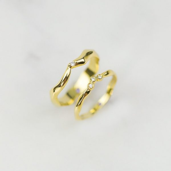 Handmade Jewelry, Thorn Love, 14K 18K Solid Gold Couple Ring, Wedding Ring, Braided Stacking Band, Purplemay-Meas102Ab