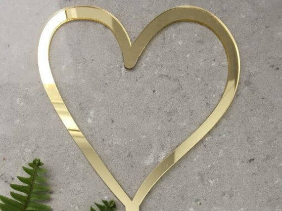 Heart Acrylic Gold Mirror Wedding Engagement Love Cake Topper