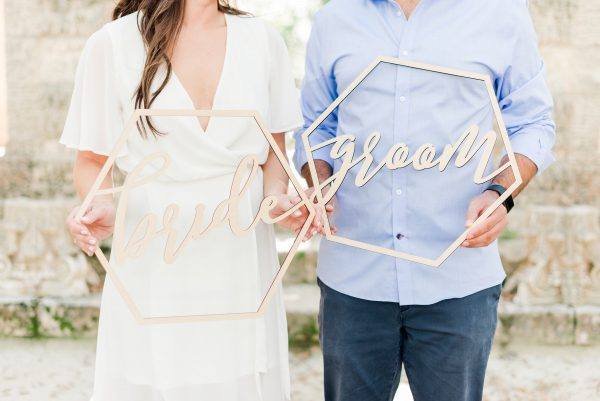 Hexagon Wedding Chair Signs Geometric Style For Bride & Groom Chairs, Calligraphy Wooden Hanging Set | Item - Gbg200