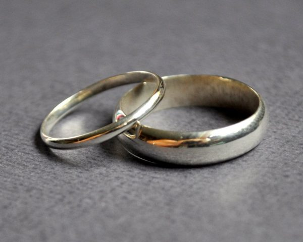 His & Hers Wedding Band Set - 2mm + 5mm Half-Round High-Shine Eco Sterling Silver Rings. Handmade in Australia
