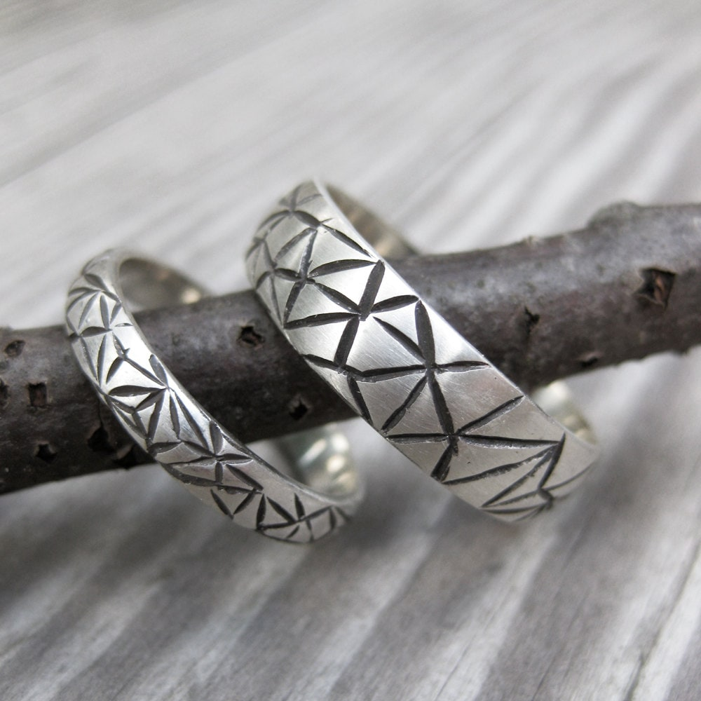 His & Hers Wedding Band Set Sterling Silver Ring Made To Order Alternative Bands Geometric Triangle Web