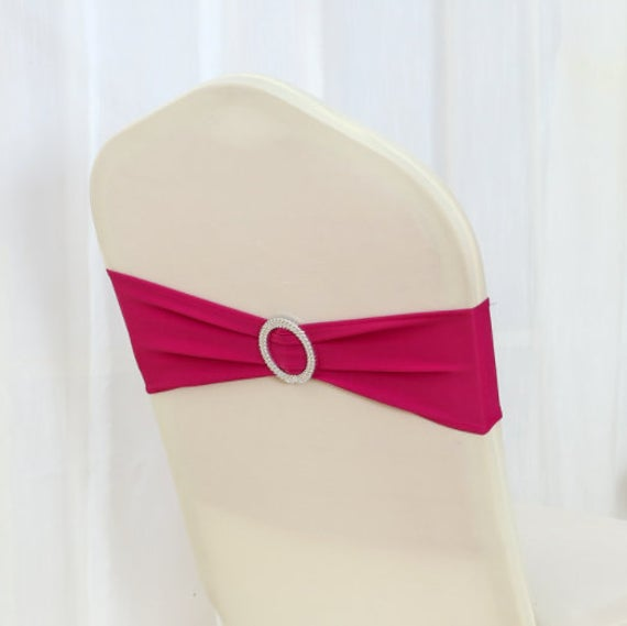 Hot Pink Spandex Chair Bands Sashes Bow Tie Ribbon Wedding Engagement Birthday Anniversary Party Reception Bouquet Decoration