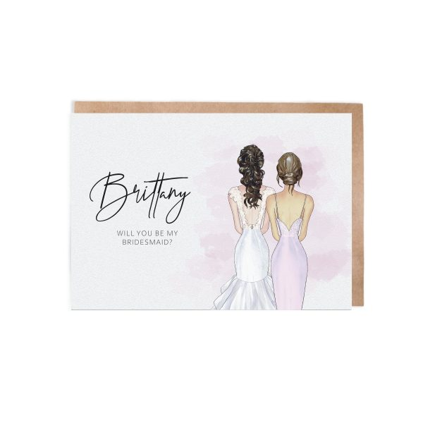 Illustrated Dresses | Will You Be My Bridesmaid? Bridesmaid Proposal Card For Rose Gold Maid Of Honour Honor