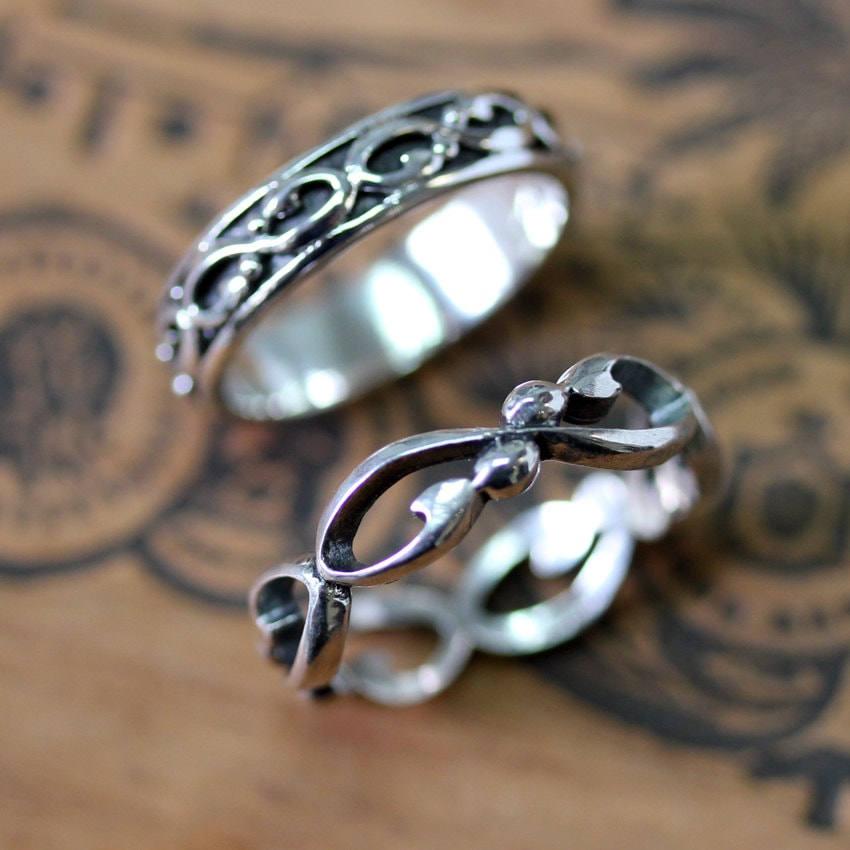 Infinity Wedding Band Set, Silver Ring Infinity Rings, Matching Oxidized Wrought Custom