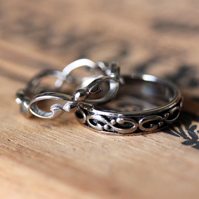 Infinity Wedding Band Set, White Gold Infinity Rings, Wrought, Unique Band, Custom