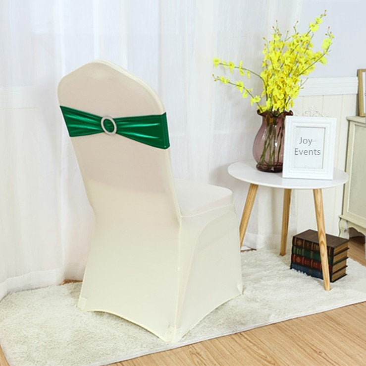 Jade Green Metallic Spandex Chair Bands Sashes Bow Tie Ribbon Wedding Engagement Birthday Anniversary Party Bouquet Decoration