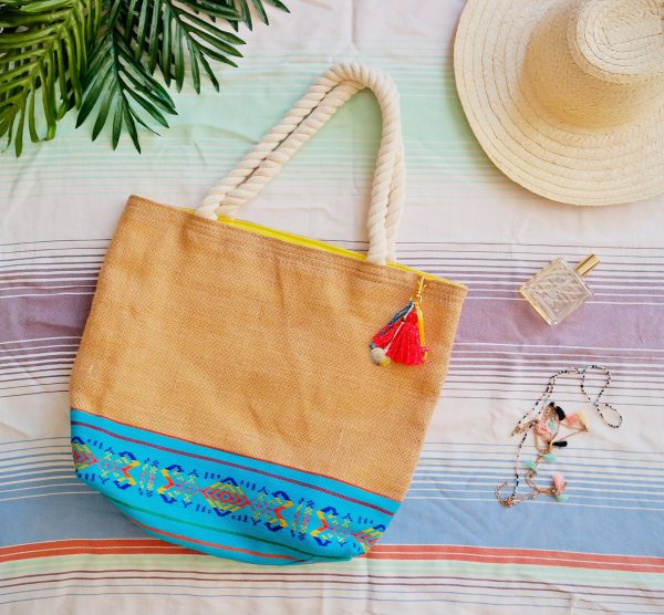 Jute Tote With Traditional Mexican Fabric/Cruise Bag Tropical Beach Wedding Sturdy Gift Bags