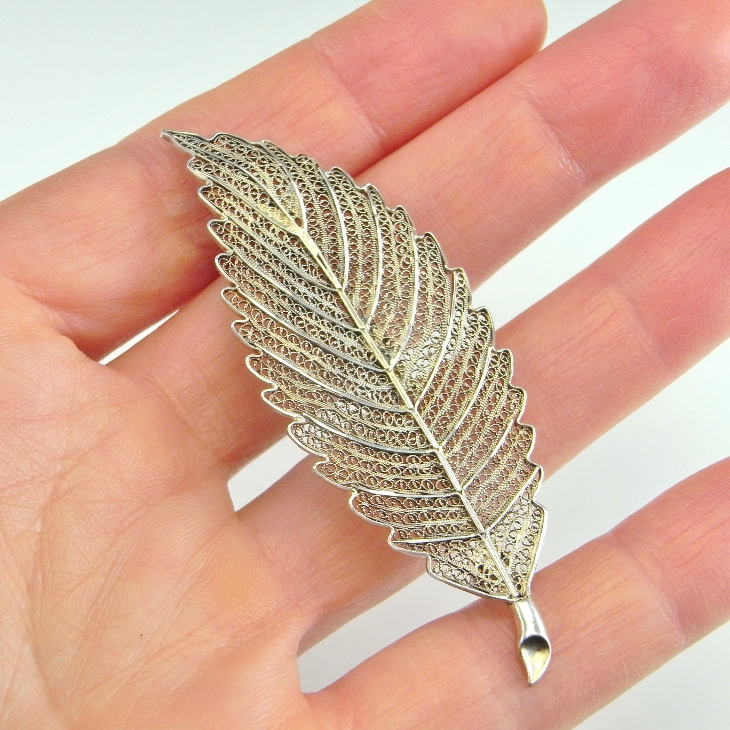 Lace Filigree Leaf Pin Brooch Sterling Silver Jewelry Antique Art Deco 1920S Artisan 925
