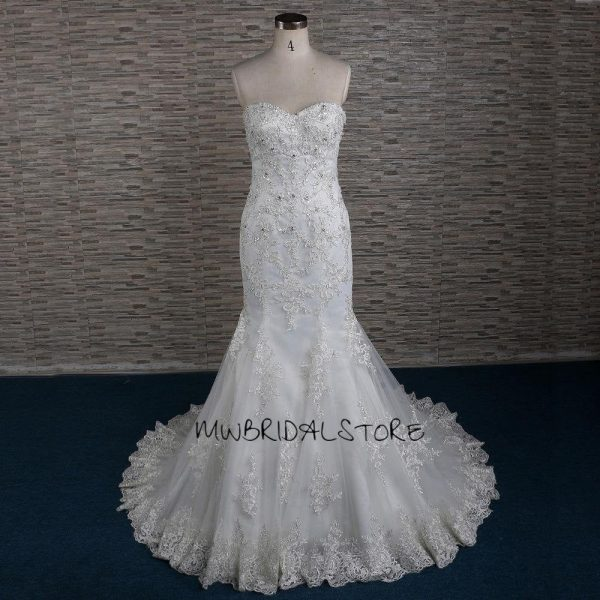 Lace Wedding Dresses   Bridal Gowns Glitter Mermaid Dress Sparkly Strapless Fit Flare Keisha