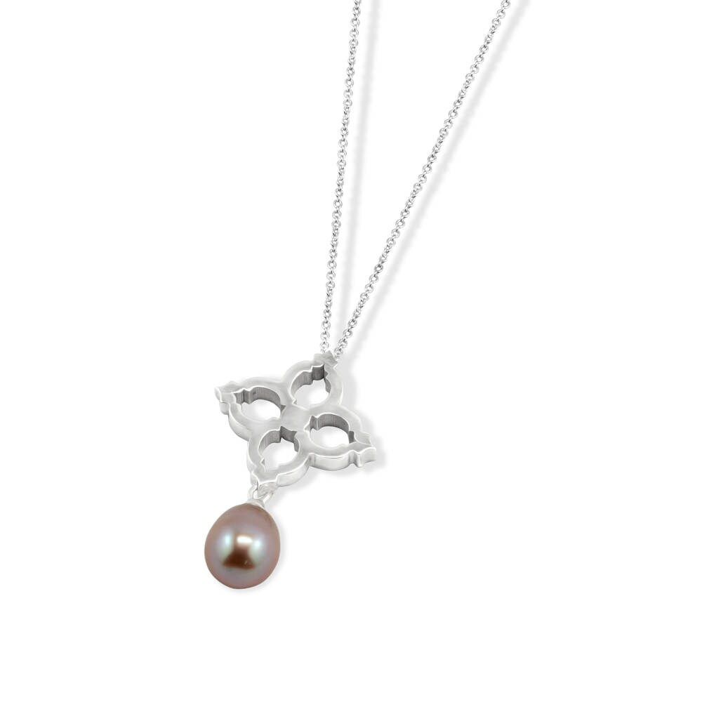 Ladies Pearl Necklace Silver Pendant Moroccan Inspired Bridal Wedding Jewellery Valentines Gift