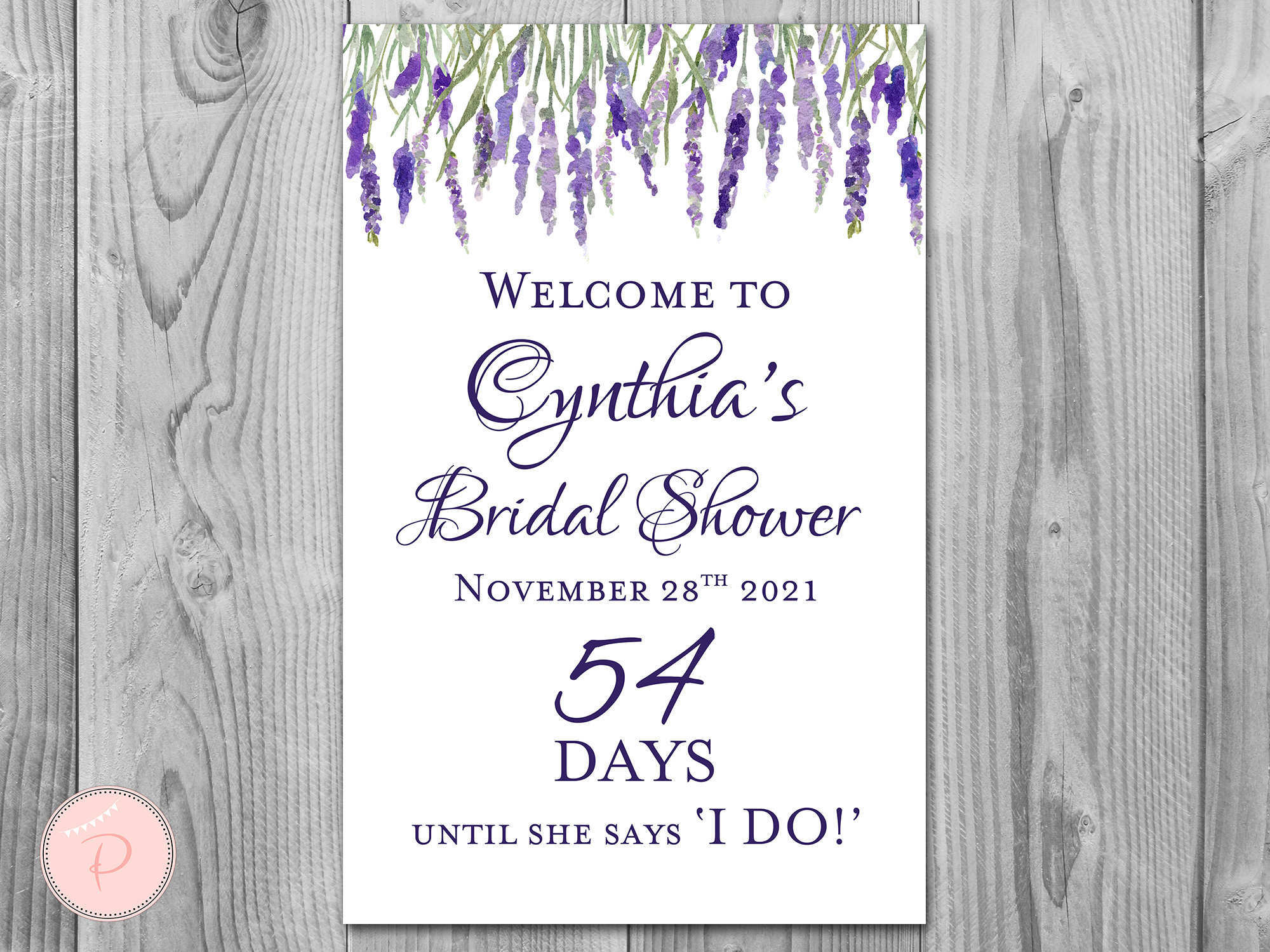 Lavender Personalized Welcome Bridal Shower Sign, Wedding Sign, Decoration Engagement Party Sign Diy Print Th85 Ws42
