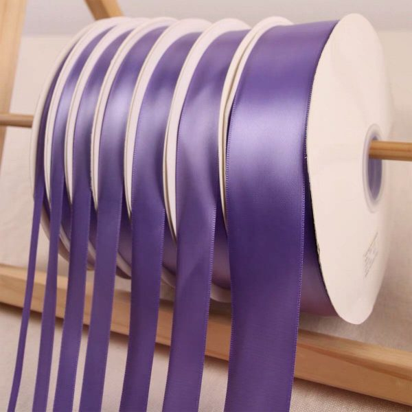Lavender Satin Ribbon Roll Wholesale Christmas Gift Wrapping Wedding Party Favors Chair Decorations Tags Box Ribbons