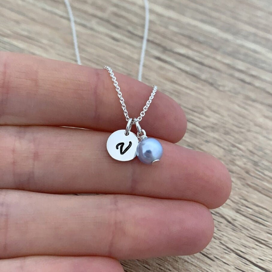 Letter Necklace, 925 Sterling Silver, Personalized Gift, Bridesmaid Pendant, Initial Jewelry, Blue Pearl Wedding Disc