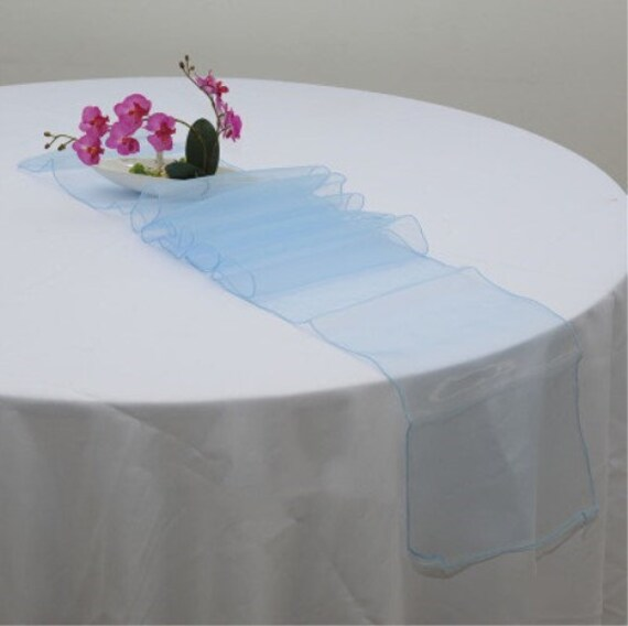 Light Blue Organza Table Runners Wedding Banquet Ceremony Feast Birthday Anniversary Sheer Chair Sashes Party Dining Decorations