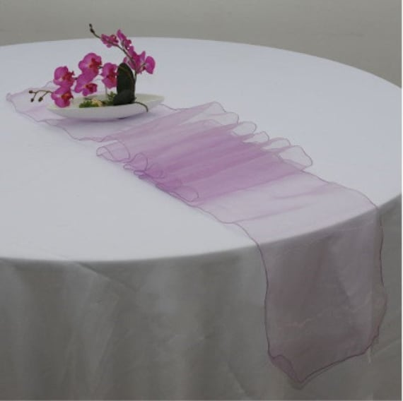 Lilac Lavender Organza Table Runners Wedding Banquet Ceremony Feast Birthday Anniversary Sheer Chair Sashes Party Decorations
