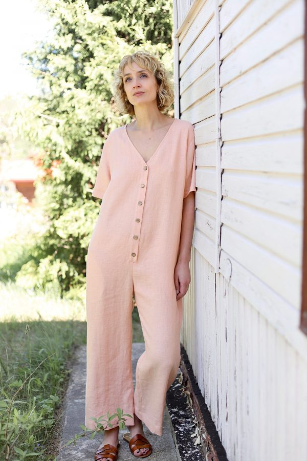 Linen Flowing Jumpsuit in Almost Apricot Color/Offon Clothing