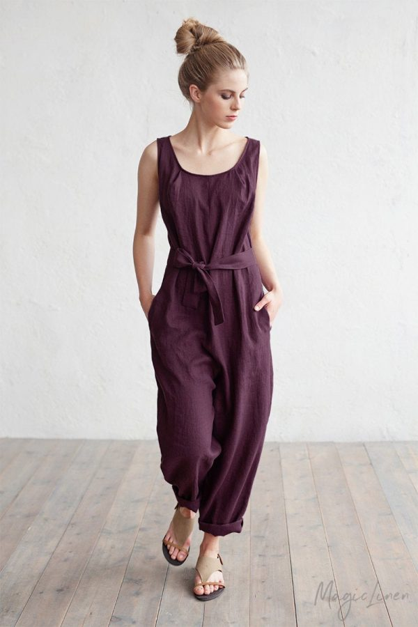 Linen Jumpsuit Annecy. Drop Crotch, Sleeveless Linen Romper. Overall. Clothing For Women