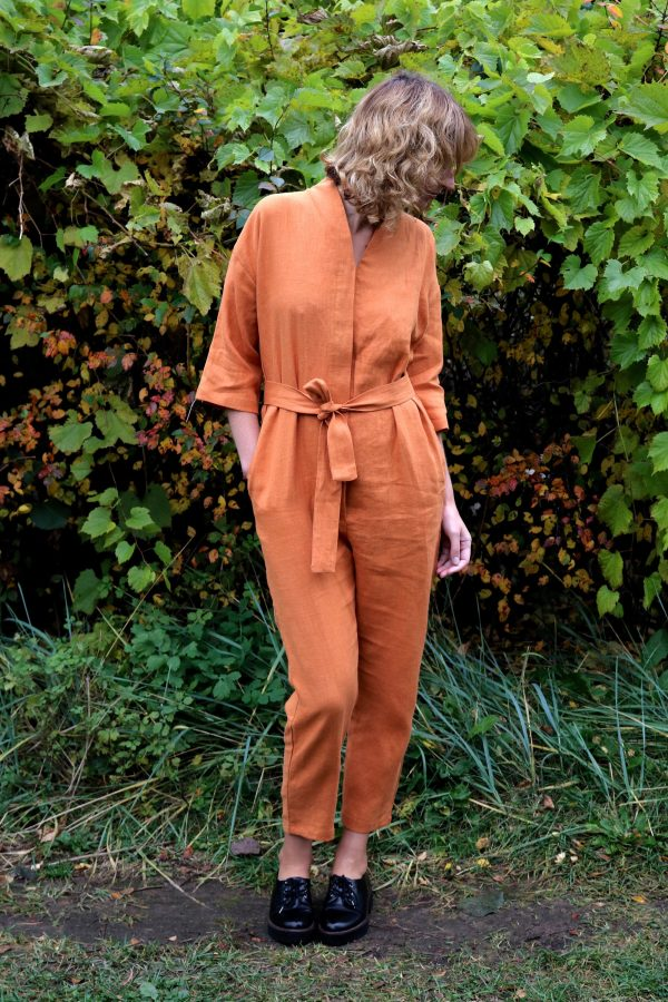Linen Kimono Style Relaxed Jumpsuit/Handmade By Offon