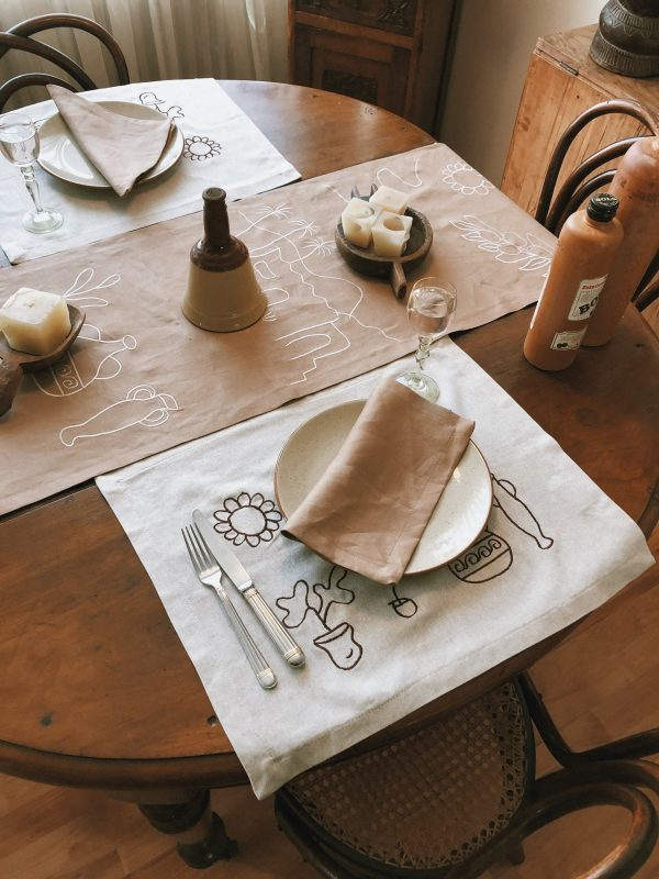 Linen Table Runner Greek. Light Brown Cream Tan Natural Tablecloth. Unique Hand Embroidery. Topper, Boho Rustic Console