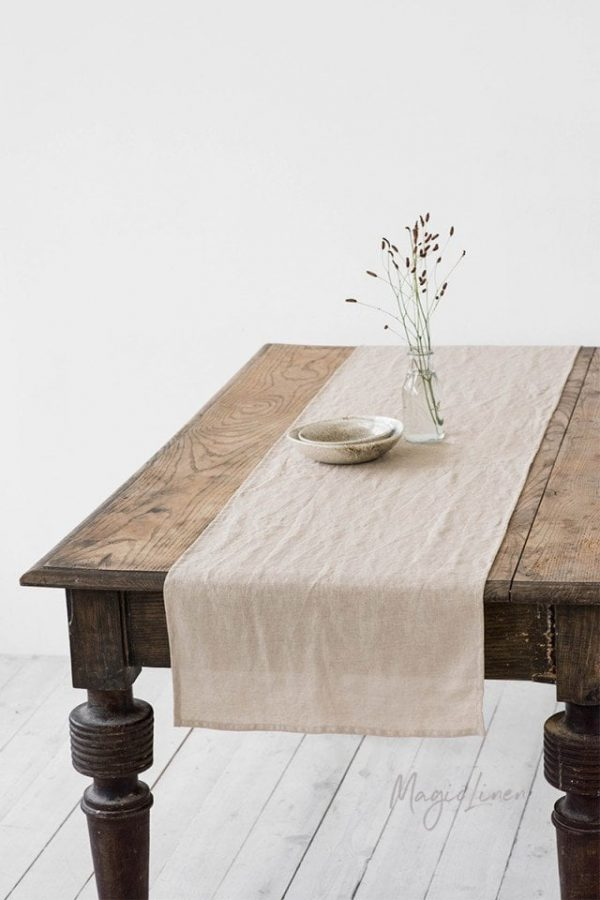 Linen Table Runner. Various Colors Available. Handmade, Stone Washed Linen Softened Table Linens, Decor