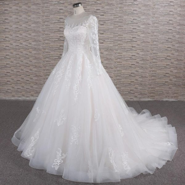 Long Sleeve Wedding Dress | Bridal Ball Gown With Sleeves Penny
