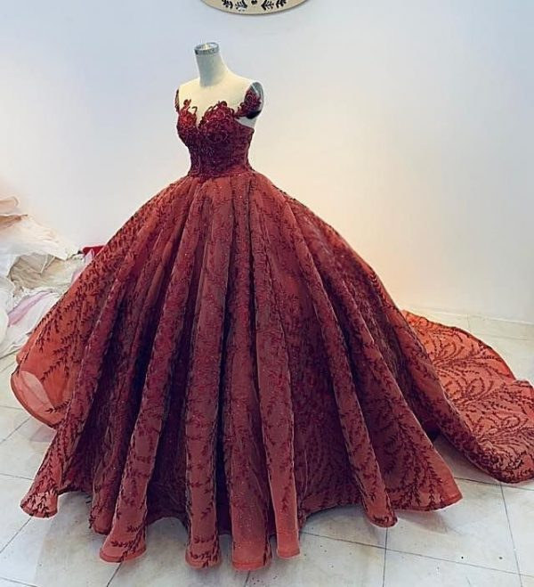Luxury Red Vintage Princess Wedding Dress Made To Measure, Off The Shoulder Sparkling Bridal Gown For A Fairy Tail