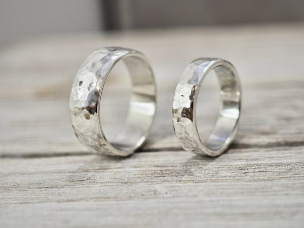 Matching Heavy Silver Wedding Bands   Chunky Ring Set Silver Rings Handmade His & Her