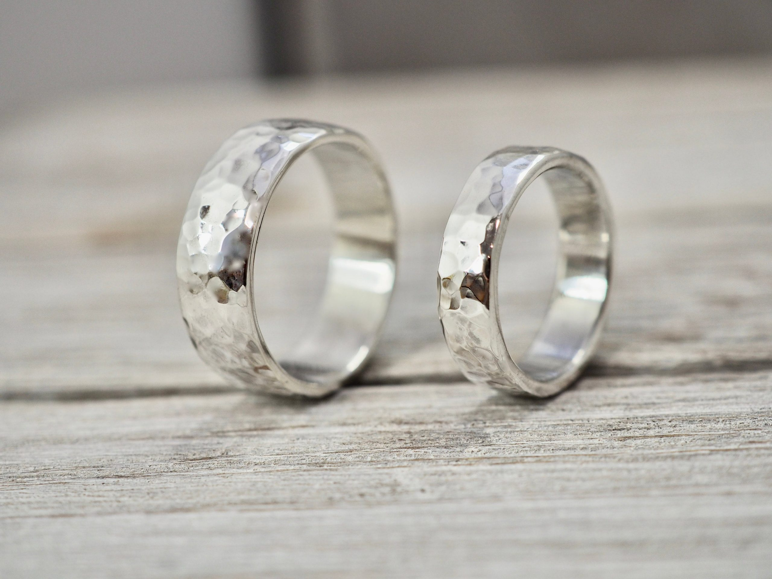 Matching Heavy Silver Wedding Bands | Chunky Ring Set Silver Rings Handmade His & Her