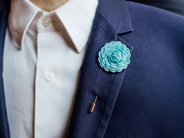 Mens Brooch, Blue Lapel Pin, Flower Gift Idea, Suit Accessories, Wedding Gift, Pin