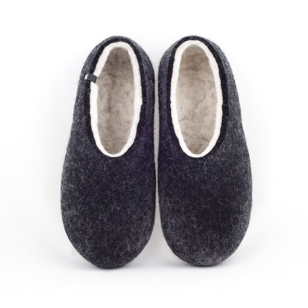 Men's Eco Friendly Felted Slippers Black & Natural Organic White By Wooppers Woolen Slippers. Warm Comfy House Shoes Gift For Men