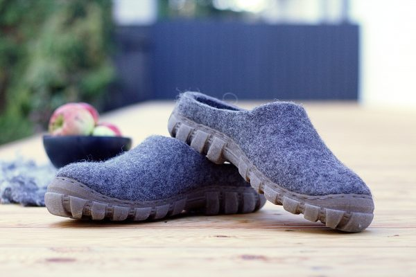 Mens Stepin Felt Shoes in Gray Natural Wool