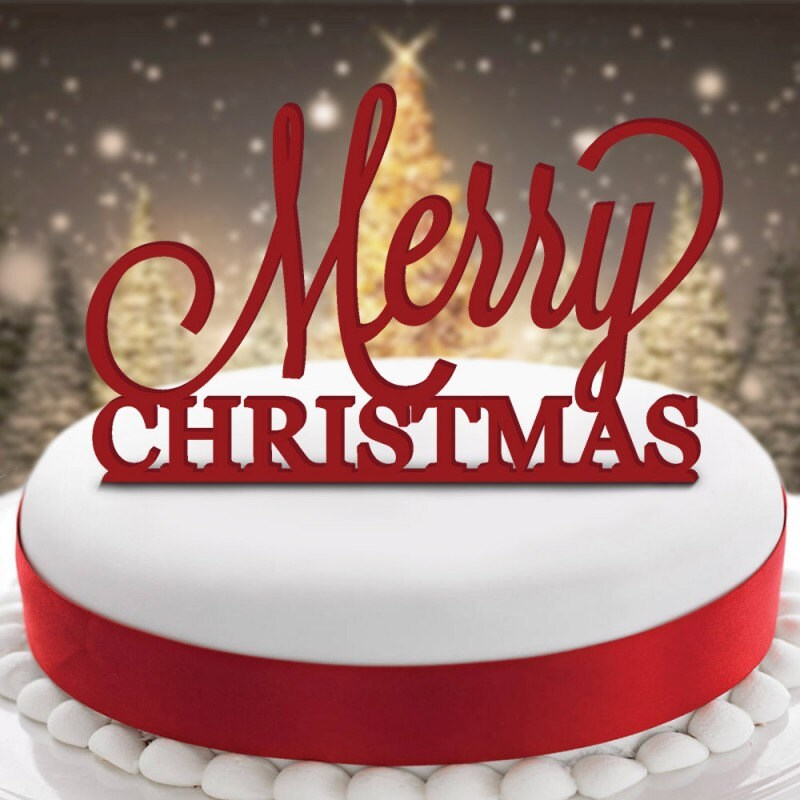 Merry Christmas Acrylic Cake Topper Or Pudding