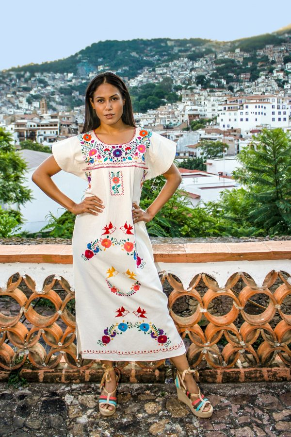Mexican Wedding Dress Traditional Hand Embroidered - 100% Cotton Material   Manta