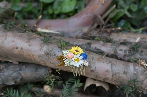 Mini Hair Comb Floral White Blue Gold Yellow Flowers Wedding Bridal Hair Fashion Accessories Barn Woodland Style