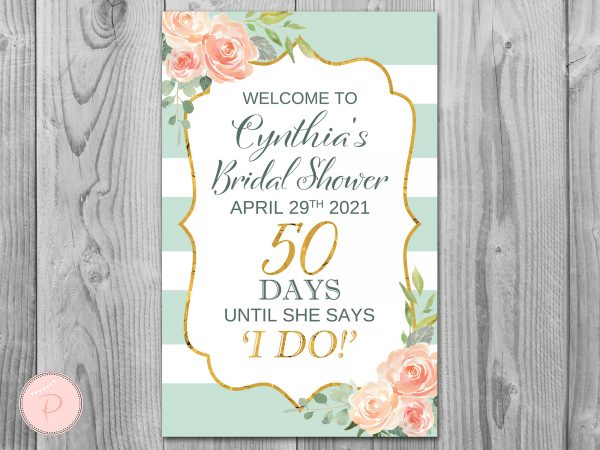 Mint & Gold Personalized Welcome Bridal Shower Sign, Wedding Sign, Decoration Engagement Party Sign Diy Print Th73.1 Ws47