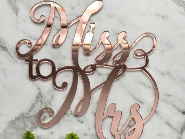 Miss To Mrs Cake Topper - Acrylic Rose Gold Bridal Shower/Hens Decoration Party