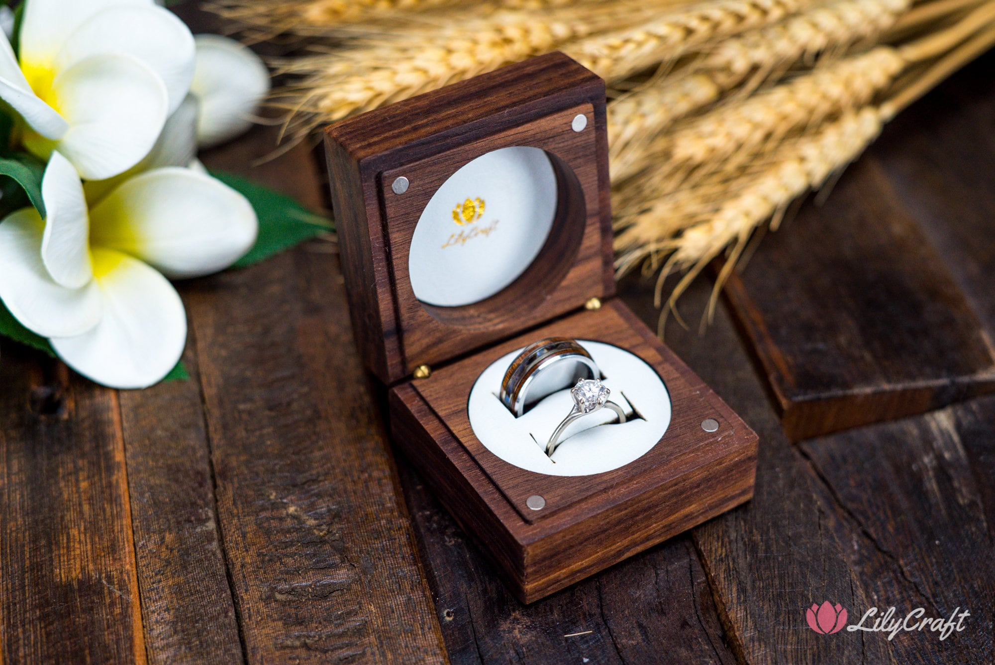 Modern Wedding Ring Box - Personalized Double