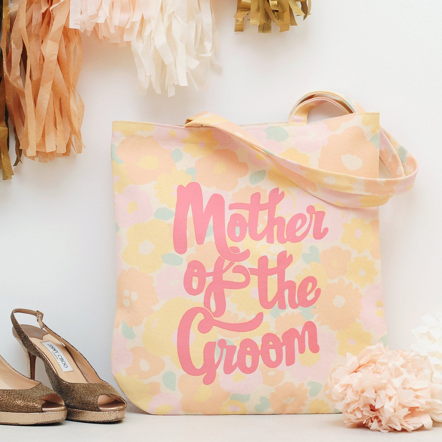 Mother Of The Groom Floral Tote Bag - Gift For Mum Shoulder Wedding Canvas Bachelorette Party